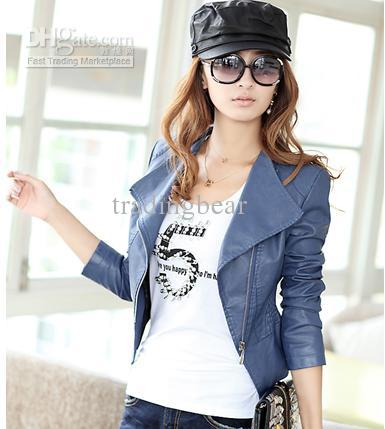 Chic Korea Blue/khaki/black Color Women Short Motorcycle Jackets ...