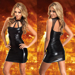 Wholesale New Arrival Women Sexy Costume Faux Leather Cosplay Clubwear Mini dress Nightwear Lingerie Ladies