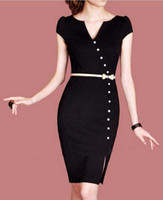 2012 New Style Fashion Dresses F45 Black V- Neck Slim Women's...