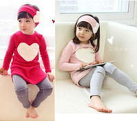 Wholesale 3 sets for children include pullover leggings headband heart shaped pattern