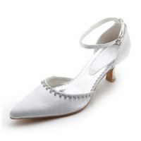 Wholesale Fashion New Hig Quality Pointed Satin white Beaded Wedding Prom Shoes cm High heel Dancing Shoes