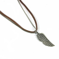 Wholesale new fashion Men s COOL Unisex punk charm Angel Wings Pendant Genuine Leather Necklace