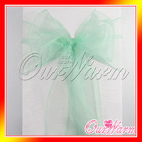 Wholesale 100 Aqua Mint Green Organza Chair Sashes Crystal Table Sample Fabric wedding Bow Gift Party