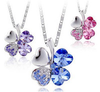 Wholesale 5Colors Option Silver Tone Chain Crystal Heart Rhinestone Petal Flower Necklace