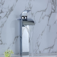 Waterfall Chrome Ceramic Glass waterfall Bathroom Faucet basin Mixer Tap