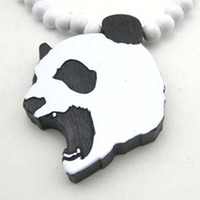 Wholesale Necklace GOOD WOOD NYC Hip hop Wooden Hand drawn Crazy Panda Beaded Fashion rosary jewelry LK2136