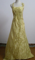 Wholesale In Stock Day Dispatch Plus size Gold strapless organza embroidery wedding dresses