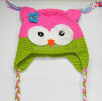 Wholesale Lowest price Toddler Owl EarFlap Crochet Hat Baby Handmade Crochet Hat Blended yarn