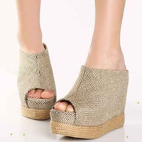 Wholesale 2012 Hot Summer Woven Wedge Sandal shoes Sexy wedge shoes Sandals for women Clogs SO3SOZW345