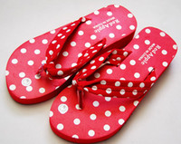 Wholesale 10 pair women flip flop dots foam beach shoes slippers
