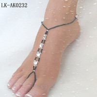Wholesale stretch anklet chain with toe ring pair retailer choosen from colors LK AK0232 Via China post