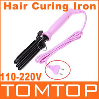 Wholesale Three Barrel Ceramic Stainless Steel Hair Jumbo Waver Styler Curling hair curler Iron Pink H4827
