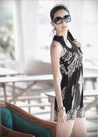 Wholesale Hot Sale Women s Floral Classic Vintage Collar Exotic Mini Dress Black White with Band Neck