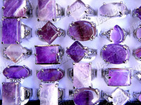 Wholesale Rings Jewelry Charm crystal of Amethyst gemstone stone Silver Tone Ring include box