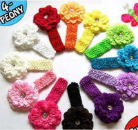 Wholesale BABY Girls peony flowers hair clips quot crochet headbands hairband children s