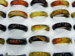 Rings Jewelry Charm mixed brown smooth Agate gemstone stone Ring 200pcs include box 17-19mm