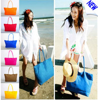 Wholesale Hot Women s Straw Summer Beach Bags Travel Weave Woven Shoulder Tote Bag Purse Handbag mixed colors