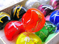 Wholesale Rings Jewelry mixed Colored Silver foil EGG Murano Glass Ring include box mm