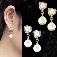 Wholesale The ear clip without pierced earrings earring Crystal Rhinestone Pearl Girl Korean jewelry