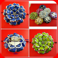 Wholesale roses flowers the multicolour rhinestone resin brooch