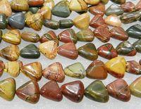 achat en gros de plusieurs jasper couleur-Nouveau! 8mm Multi-color Picasso Jasper Triangle Loose Beads 15inch