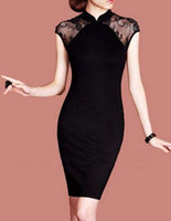 New Style Fashion Dresses F52 Black Lace Mosaic Slim Women's...