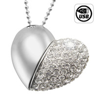 Wholesale 8GB USB Flash Drive Necklace Jeweled Metal Heart