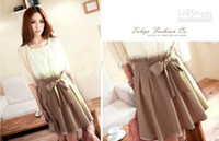 Round attention line - Women Fashion Korean sleeveless bow chiffon skirt false two piece dress expecting your attention