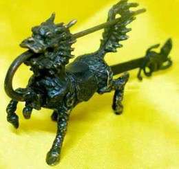 Chinese old style bronze beast lock and key