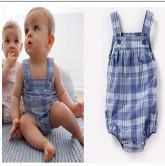 Wholesale Summer HM Baby romper harness Romper Plaid suspenders Romper lattice Romper Climbing clothing