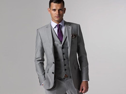 Wholesale Groom Tuxedos Groomsmen Custom Made Light Grey Side Vent Slim Fit Best Man Suit Wedding Men s Suits Bridegroom Jacket Pants Tie Vest G379