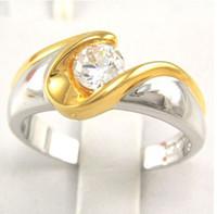 Wholesale Elegant Lady s Wedding rings Round gemstone bride KT Yellow White Gold GP gemstone Ring