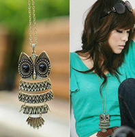 Wholesale owl necklace bronze silver mix vintage retro owls jewelry cheap best price promotion