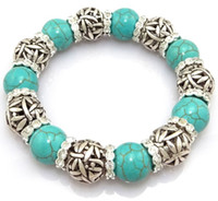 Wholesale Tibetan Silver Hollow Ball Turquoise Gemstone Ball Rhinestone Beads Chain Unisex Charm Bracelets