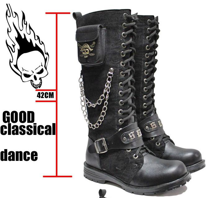 Men's Shoes Side Pocket Knee-High Boots,Punk Skull Chains Lace-Up ...