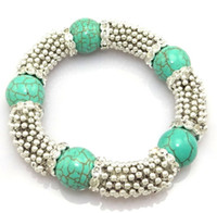 Wholesale Classical Vintage Tibetan Silver Beads Chain Bracelets Fit Five turquoise Rhinestone Gemstone Balls