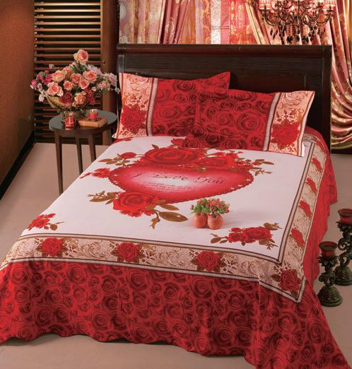 2017 Pure Cotton Thick I Love You Bed Sheet With Rose