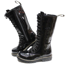 Black Men's Leather Shoes Knee-High Boots,Punk Lace-Up Side Zipper Leather Casual Boots,Fashion Boots,EU Size 39-44