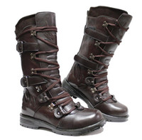 Wholesale Fashion Men s Leather Shoes Knee High Boots Punk Lace Up Buckle Straps Fire Totem PU Leather Casual Boots EU Size