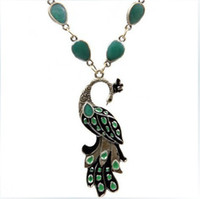 achat en gros de paon pierres précieuses-bijoux colliers collier nouveau design paon pendentif en alliage pierres précieuses bijoux vintage gros
