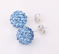 Wholesale 2012 NEW Mixed colors Shamballa Earrings MM Disco ball Crystal Earrings pairs