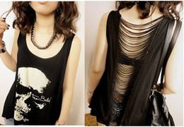 Wholesale new street punk style loose leisure skull fringed vest T shirt black