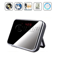 Wholesale Spy Camera HD Digital Mirror Clock Style Hidden DVR with Motion Detection amp Remote Control