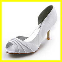 Satin Other Cheap 2012 Satin Pleated Open Toe White 8CM Pump Platform Women High Heel Bridal Wedding Shoes 19043