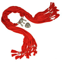 Wholesale 12colors Western Heart pendants jewelry pendant scarf necklace women jewelry Mixed colors each NL