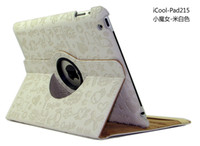 Wholesale 1pc Degree Rotary Magnetic Faerie Series leather Case Cover Stand Holder for Ipad2 Ipad3 Protec