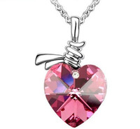 Wholesale Swarovski Elements Heart Pendant Necklace Crystal Jewellery Colours