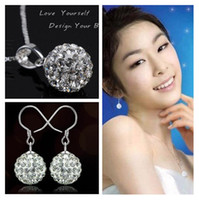 Wholesale Jewelry set silver pendant necklace earring bling crystal shambala ball pendant ornament