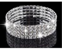 Wholesale NEW Row Crystal Rhinestone Wedding Party Stretch Bangle Bracelet Bling Jewelry