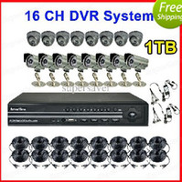 Wholesale 16 CH CCTV CCD Net DVR Home Surveillance DVR System Security Vandalproof Dome Camera Video Recording